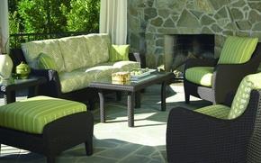 Picture design, style, interior, fireplace, veranda