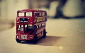 Picture macro, red, photo, table, toy, bus, English