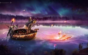 Picture dream, monkey, water, night, desktopography, fish, boat, fishing, gold fish, 2016, amzing