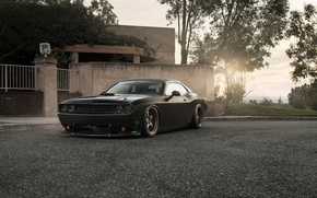Picture Muscle, Dodge, Challenger, Car, Front, Black, Sun, Tuning, R/T, Wheels, Ligth