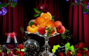 Picture flowers, berries, orange, vase, fruit, drinks, apricot, flowers, Still life, fruit, orange, drinks, berries, vase, …
