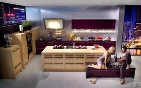 Picture woman, interior, pair, kitchen, male, kitchen