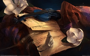 Picture Music, Violin, Notes, Figurine, The Sound of Her