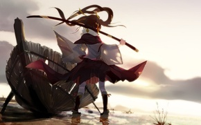 Picture the sky, girl, the sun, clouds, sunset, weapons, boat, katana, anime, art, nanathy, untan