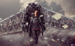 Picture blood, smoke, the building, Girl, police, sparks, cyborg, photo manipulation, art by MadSpike