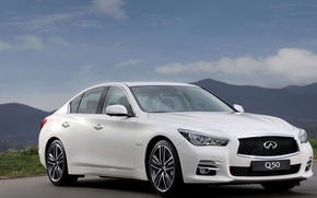 Picture the sky, landscape, mountains, Infiniti, sedan, Q50