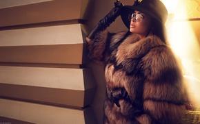 Picture sexy, model, glasses, lips, coat, hat, beautiful, photographer, posing, face, Nita, Ivan Gorokhov