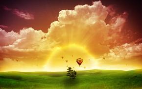 Picture Sunset, The sun, Light, The world, Flying balls