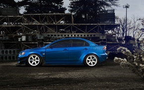 Picture Blue, Desktop, profile, Mitsubishi, Lancer, Evolution, Car, Beautiful, Style, Lancer, JDM, Wallpaper, Automobiles, Evolution, Mitsubishi