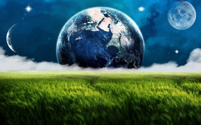 Wallpaper earth, planet, fog, the moon, a month, field, meadow, space, clouds