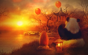 Picture the sun, balls, trees, sunset, orange, lake, house, Panda, girl, lantern