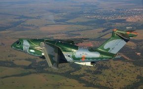 Wallpaper KC-390, FAB, Embraer, Brazilian Air Force, Force Air Brazilian, military aircraft