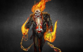 Picture the dark background, fire, flame, skull, skeleton, Ghost rider, ghost rider
