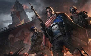 Wallpaper shield, tower, soldiers, fire, Homefront: The Revolution, machine, the rebels