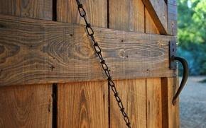 Picture the door, chain, handle