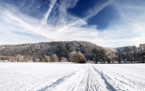 Picture winter, road, field, forest, the sky, snow, landscape, nature, background, Wallpaper, home, horizon, picture