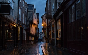 Picture city, lights, windows, wet, night, evening, street, houses, signs, England, buildings, roofs, York, old building, …