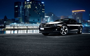 Picture Chevrolet, Muscle, City, Camaro, Car, Front, Black, Nigth, Scape