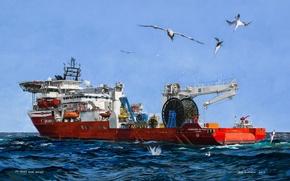 Wallpaper sea, the sky, birds, The ship, used by divers, Marshall Islands, Harkand Da Vinci