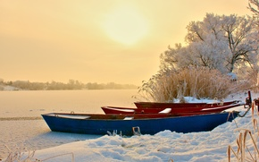 Picture winter, snow, river, boats, the evening