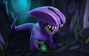Picture dinosaur, being, art, the trick, Dota 2, Faceless Void, Dark terror