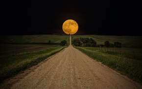Wallpaper The moon, The sky, The way, Field, Night, Night, Road, Sky, Road, Moon, Field