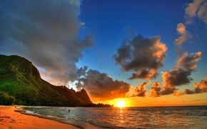 Picture the ocean, shore, landscape, sunset