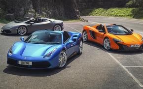 Wallpaper McLaren, Lamborghini, Ferrari, cars, Spyder, supercars, supercars, Spider, Huracan, 650S, 488 GTB