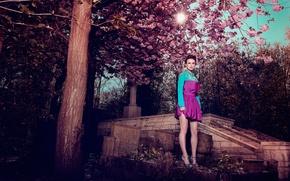 Picture girl, garden, actress, Keira Knightley, Keira Knightley