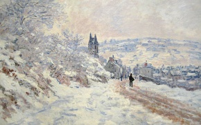 Wallpaper winter, snow, landscape, picture, Claude Monet, The road to Vétheuil. Snow Effect