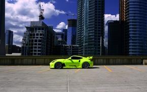Picture green, Nissan, side, tuning, 370z, vossen wheels
