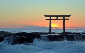 Picture sea, sunset, gate, Japan, surf, torii