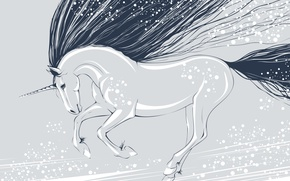 Wallpaper unicorn, mane, vector