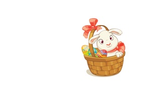 Picture background, mood, holiday, art, Easter, basket, Bunny, eggs, easter, children's