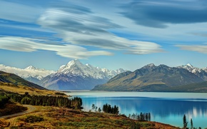 Picture forest, clouds, trees, mountains, river