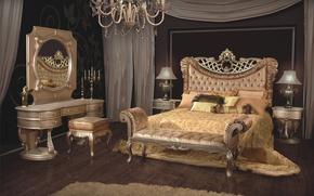 Picture room, bed, mirror, luxury, bedroom