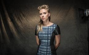 Picture girl, background, dress, actress, Scarlett Johansson, blonde, Scarlett Johansson