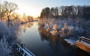 Picture winter, river, morning, Sweden