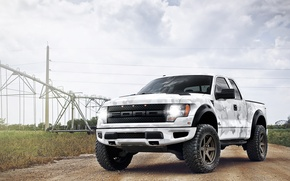 Picture camouflage pattern, F-150, white, SVT, white, pickup, power lines, power line, Ford, clouds, the sky, ...