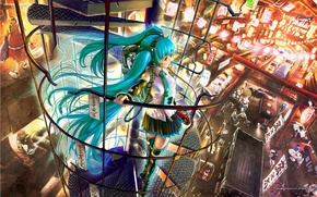 Wallpaper Vocaloid, hatsune miku, ladder, vocaloid, the city