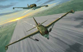 Picture aircraft, war, art, airplane, aviation, dogfight, russian fighter, russian jet, Approx 17