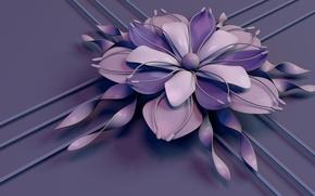 Picture flower, line, strip, lilac, petals, stamens