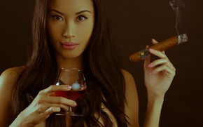 Picture look, girl, face, background, smoke, glass, cigar, icicle