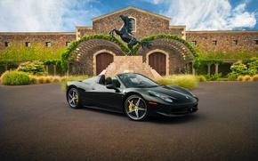 Picture supercar, Ferrari, black, rechange, hq Wallpapers, Ferrari 458 Spider