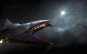 Picture space, stars, flight, spaceship