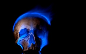 Picture background, flame, skull, sake