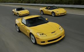 Picture road, auto, Wallpaper, speed, three, chevrolet corvete z06, chevrolet corvete, chevrolet corvete coupe