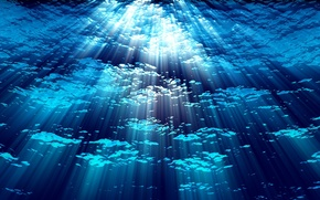 Picture water, blue, background, depth, rays of light