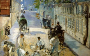 Wallpaper street, picture, working, repair, the urban landscape, Edouard Manet, The Street Mosnier with the Pavers