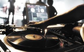 Wallpaper record, turntables, DJ, music